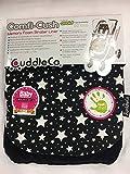 Comfi-Cush Universal-Auflage für Kinderwagen / Buggys, mit Memory-Schaum, Wende-Bezug, Schwarz mit weißen Sternen