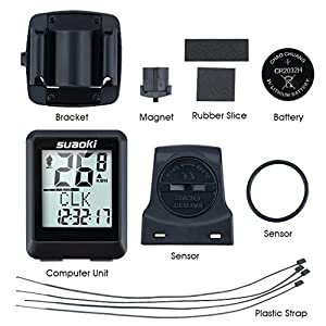 Suaoki 9500 - Ciclocomputador Ordenador Digital Para Ciclismo (Inalámbrico, Pantalla retroiluminada, Distancia Seguimiento, Cuentakilómetros, Calorías) Negro