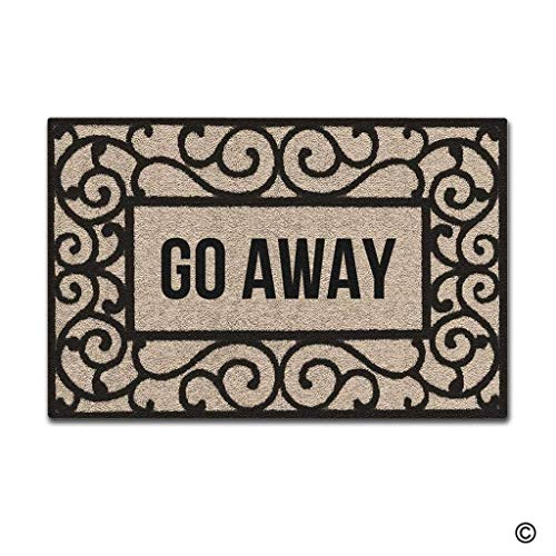 ZHIZIQIU Doormat Entrance Floor Mat Rectangular Go Away Funny Doormat Indoor Decorative Door Mat Non-Woven Fabric Top (Rag-rug-5 7 X)