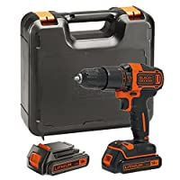 BLACK+DECKER BDCHD18KB-GB BDCHD18KB 18V Cordless Hammer Drill with Kitbox and 2 Batteries, 18 V, Black/Orange
