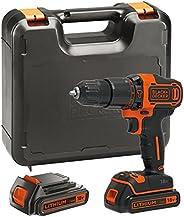 Black+Decker 18V Li-Ion Cordless 2 Gear Combi Hammer Drill with Kitbox, 2 x 1.5Ah Batteries, Orange/Black - BD