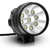 Kingtop 15000 Lumens 9x CREE XM-L T6 LED Phare Lampe Frontale pour Vélo VTT Bicyclette Cyclisme avec Rechargeable Batterie