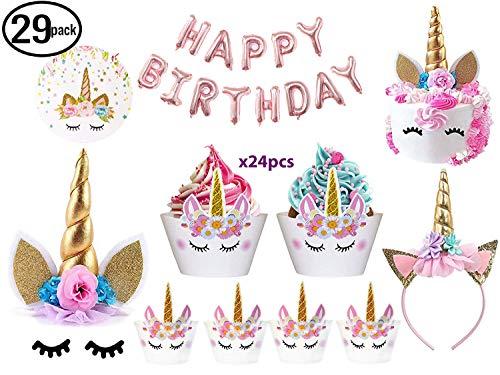 JOYHILL Einhorn Party Geburtstagsdeko Einhorn Kuchen Topper mit Wimpern, Stirnband, Cupcake Wrappers...