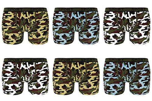 Herren Boxershorts Camouflage Retroshorts aus Baumwolle 6er Pack Mehrfarbig
