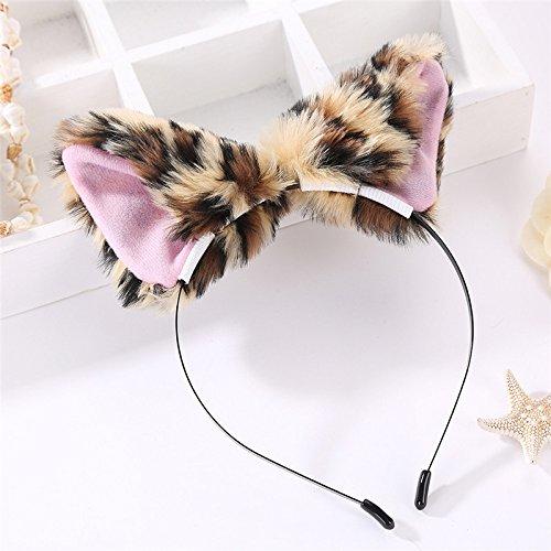 Doitsa 1 Stück Plüsch-Ohrstirnband Katzenohren Fuchsohren Haarband Karikatur Haarreife Trend Damen Haarreif Kopfband Kostüm Accessories für Frauen Leopard