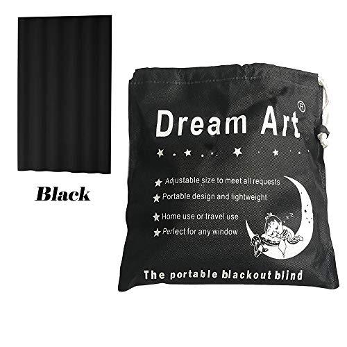 Dream Art Tragbare Verdunkelungsrollos/Temporäre Einstellbare Verdunkelung Vorhang mit Saugnäpfen für zu Hause und Reisen Schwarz, 1 Panel (W132XL183cm)