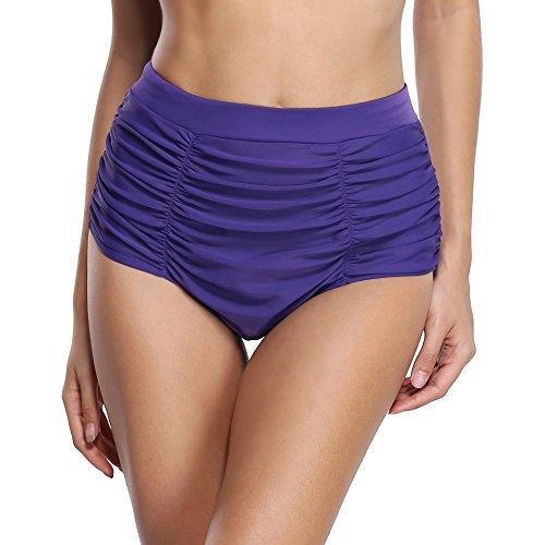 CharmLeaks Damen Badeshorts Bikinihose Schnüren Höschen High Waist Ocean Serie 3056 Violett
