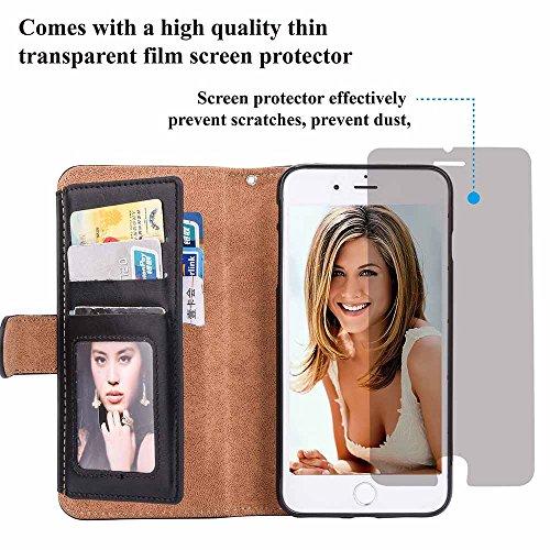 Custodia iPhone 5 / 5S / SE, COOSTOREEU Borsa con Zip in Pelle Premium PU con Cinturino da Polso Portafoglio Magnetico con Flip Side, Custodia Staccabile 2 in 1 con 5 Slot per Apple iPhone 5 / 5S / SE Nero