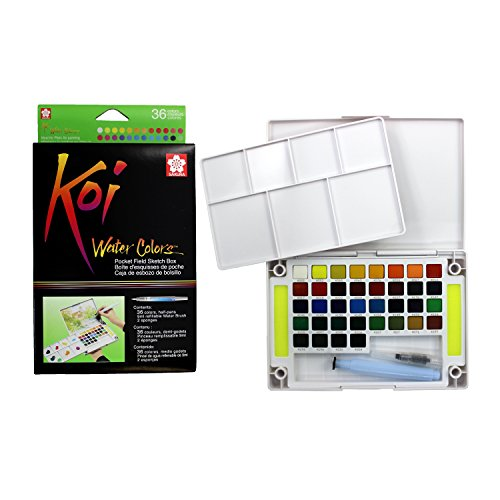 Koi Watercolor Pocket Field Sketch Box - 36 Colors-Assorted Colors Koi-snap