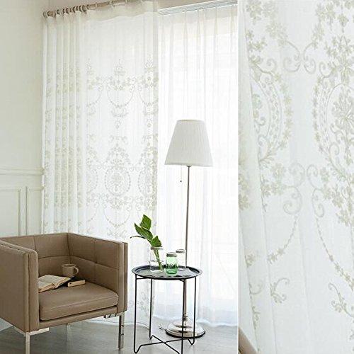 Bloomma finestra tenda, tenda pura del ricamo del poliestere di stile europeo,pannelli della tenda della parete della peluche del ricamo del filato del cotone per il salone,camera da letto