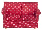 Puppenhaus modern rot 2-SITZER SOFA Miniatur 1:12 Maßstab Wohnzimmer Möbel