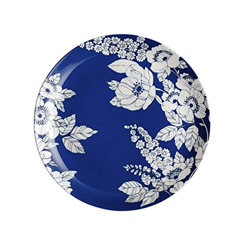 Denby Monsoon Fleur Medium, Bone China Porzellan, Blau, 22 x 22 x 2 cm