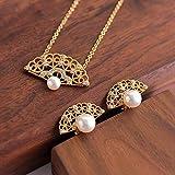 Lnyy Perle Ohrring Halskette 925 Silber Mikro-Intarsien Zirkon Elegante Retro Hohlfächer Perle Ohrring Halskette Schlüsselbein Kette