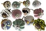 Pomelli Manopole Stile Vintage in Ceramica Set Mix x 12 Pezzi (MG-139) - Prodotto 'Vintage-Chic'