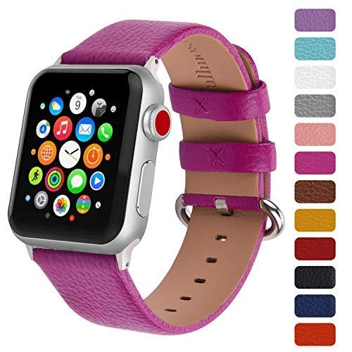 Fullmosa Klassische Litichi Leder Watch Armband geeignet für Apple Watch Series 4/3/2/1, 12 Farben iWatch Armband geeignet für Männer und Frauen mit Edelstahlschliesse 38mm, Rose rot -
