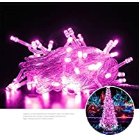 prbll Copper Wire Led Light, Waterproof Holiday Lighting, Wedding Party Decoration, Christmas Tree, About 0.2Kg 10M 100Leds Pink