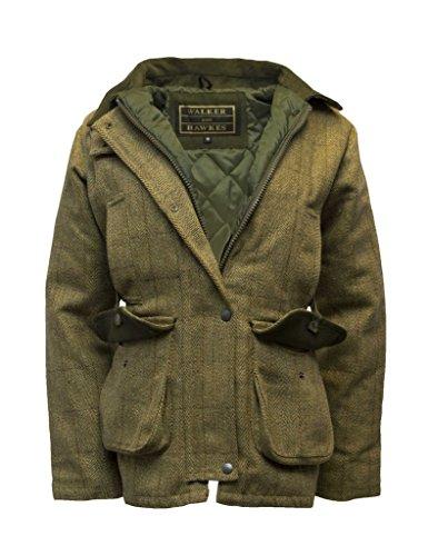Walker and Hawkes Damen Country-Jacke aus Tweed - für die Jagd geeignet - Helles Salbeigrün - Größen 34 bis 50 - Tweed Duffle