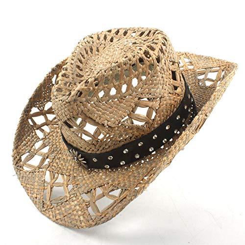 IWKASEA Cappello da Cowboy da Donna, 100% Paglia, Cappello da Cowgirl Intrecciato, Cappello Estivo, a12_56-58CM