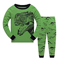 Garsumiss Toddler Pyjama Set Little Boys PJS Dinosaur Kids Sleepwear (2 Years, Green/Dinosaur)