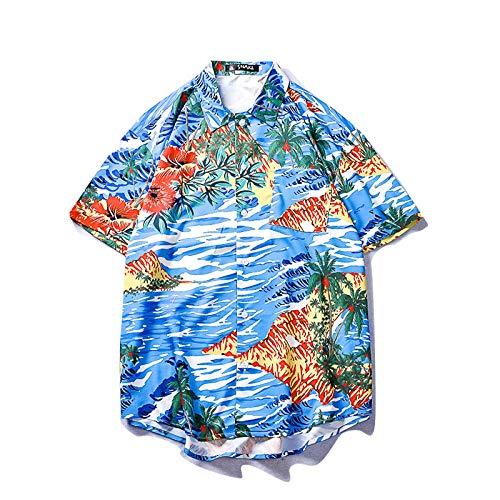 Kurzarm Blumenhemd Herren Hawaii Print Shirt Jugend Beach Style Casual @L