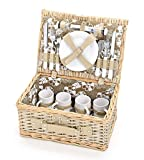 Picknickkorb für 4 Personen aus Weide mit Blumen Muster (24 teilig) - Hochwertiger Picknickkkoffer mit Deckel, Geschirr Set & Zubehör - Grün Weiß