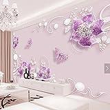 Yosot 3D Tapeten Lila Blume Schmetterling Wandbild Hd Photo Papier Für Wandplakate Wohnkultur Wandverkleidungen Für Tv Schlafzimmer Tapete Rollt-450 Cmx 300Cm