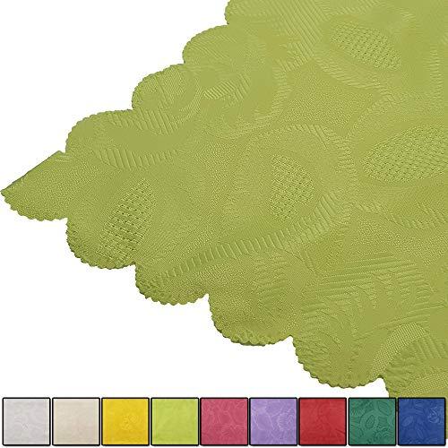 Runde Tisch Deck (nxtbuy Tischwäsche Serie Jasmin - Tischdecke Tischläufer Platzdeckchen mit edlem Jacquard Muster, Farbe:Grün, Form:Tischdecke 80 x 80 cm)