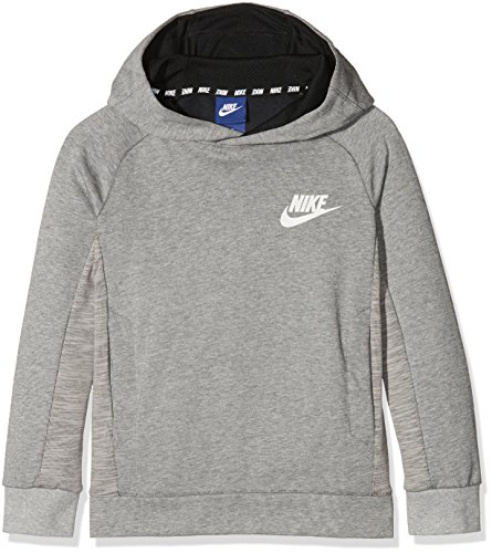 Nike B NSW Po AV15 Sweatshirt, Kinder M Grau / (dk grey heather / black / white) (Heather Dk)