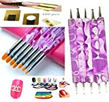 bellacoquinet - Set di 7 pennelli e 5 dotting viola + 100 cartine + 1 Strass Lettera X + 5 Stripping