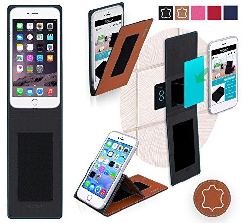 Étui pour Apple iPhone 6 Plus de couleur Bleu - Boîtier innovateur 4 en 1 Coque Smart Cover Case - Support mural anti-gravité, porte-smartphone de voiture, support de table - Boîtier de protection mur Cuir Marron
