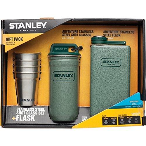 stanley-erwachsene-adventure-steel-spirits-gift-pintchen-set-18-8-edelstahl-hammerschlag-grun-tasche