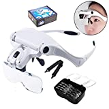 12shage 5-Magnification Magnifying Glass Head with 2-LED Light Emitting Diode Headset Leichte Stirnband Lupe Gläser für 1,0X 1,5X 2,0X 2,5X 3,5X Einstellbare 5 Objektiv Lupe Led Stirnband Glas Lupe mit Lampe