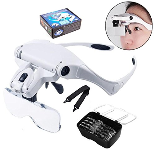 12shage 5-Magnification Magnifying Glass Head with 2-LED Light Emitting Diode Headset Leichte Stirnband Lupe Gläser für 1,0X 1,5X 2,0X 2,5X 3,5X Einstellbare 5 Objektiv Lupe Led Stirnband Glas Lupe mit Lampe