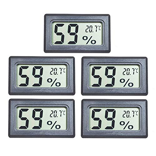 EEEKit 5-Pack LCD Digital Temperatur-Feuchtigkeitsmesser Thermometer, Mini-Digital-Thermometer Hygrometer und Feuchtigkeitsmesser für Gewächshaus/Autos/Home/Office, schwarz