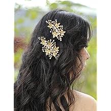 2c8b36ed7419c handmadejewelrylady novia Vintage boda partido Crystal Rhinestone pelo  pasadores clips mujeres accesorio para la cabeza accesorios