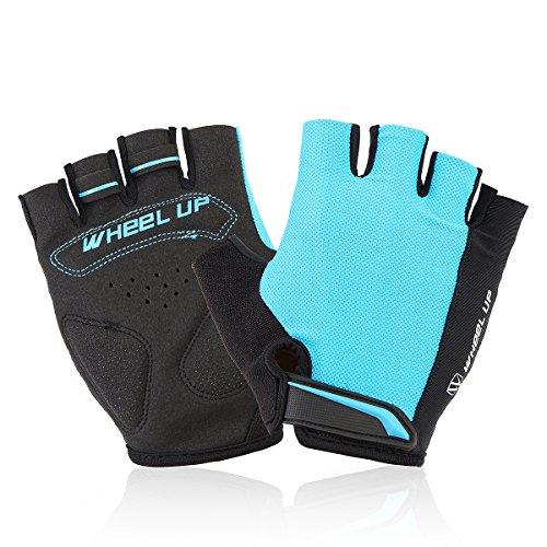 Alamor Universy Motorrad Reiten Halbfinger Fingerlos Handschuhe Größe S-Blau (Fingerlose Leder Motorrad Gel Handschuhe)