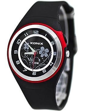 Bezaubernde Damen XONIX Armbanduhr WR100m nickelfrei Licht Blumenmuster, PI/1