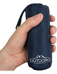 Outdoro Hüttenschlafsack, Ultra-Leichter Reise-Schlafsack, nur 200 g aus Mikrofaser, dünn & klein, Inlett, Travel-Sheet