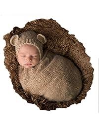 Vemonllas Tejer a Mano Recién Nacido Chico Niña Conjuntos Bebé Fotografía Accesorios Mohair Tejer Sombreros Sacos