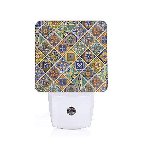 Talavera Tile Plug in Night Light, Auto Dusk to Dawn Sensor,LED Night Lights for Kids Girls,for Bedroom, Kitchen UK