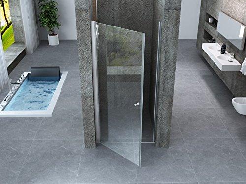 Porta doccia battente interno esterno a saloon in cristallo 8mm trasparente h.195cm PERLA (70 cm)