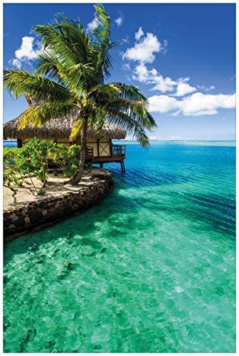 Wallario Acrylglasbild Karibisches Meer - Einsame Hütte unter Palmen - 60 x 90 cm in Premium-Qualität: Brillante Farben, freischwebende Optik