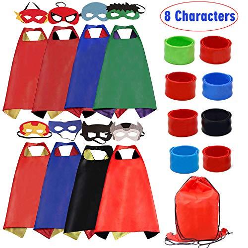 RioRand Superhelden Kostüm für Kinder verkleiden Sich mit Masken and Armbänders(8pcs)