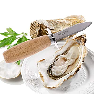 Hergon Wooden Handle Oyster Knife, Sharp-Edged Shucker, Shell Seafood Opener,Kitchen Cooking Tool
