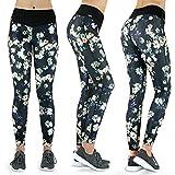 Formbelt® Damen Laufhose mit Tasche lang - Leggins Stretch-Hose hüfttasche für Smartphone iPhone Handy Schlüssel (Flower M)