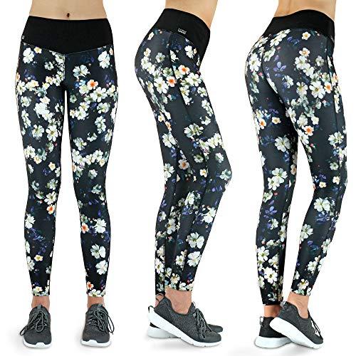 Formbelt® Damen Laufhose mit Tasche lang - Leggins Stretch-Hose hüfttasche für Smartphone iPhone Handy Schlüssel (Flower M) Schnur Mp3
