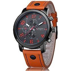 Curren Men's Outdoor Sport Military Round Dial Leather Band Seconds Quartz Wrist Watch Orange