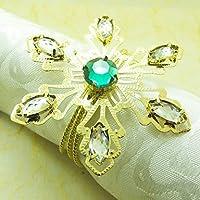 FPP Oro Crystal Snowflake anello di tovagliolo, diametro 4,5 centimetri, set di 12