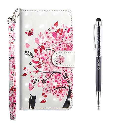 Grandoin Kompatibel mit Xiaomi Mi CC9 Pro Hülle, 3D PU Leder Etui Flip Cover Bunte Muster Book Case Schutzhülle Handytasche Handyhülle [Ständer Kartenfach] [Magnetverschluss] (Rosa Baum)