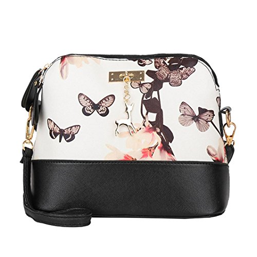SANFASHION Damen Leder Crossbody Bag Printing Kleine Hirsch Umhängetaschen Messenger Bag